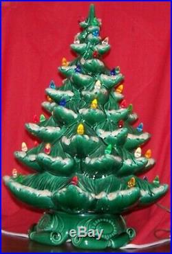 Christmas Holiday Tree with Music Box Antique Ceramic Green Snow Light Xmas