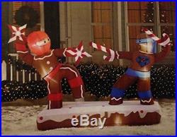 Christmas Inflatable 6.8′ Dueling Gingerbread Man Ninjas Outdoor Yard Decoration