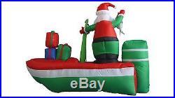 Christmas Inflatable Santa Claus Fishing Boat Indoor Outdoor Garden Decoration