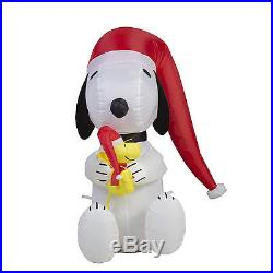Christmas Inflatable Snoopy Santa Hat Decor Light Outdoor Lawn Holiday Airblown