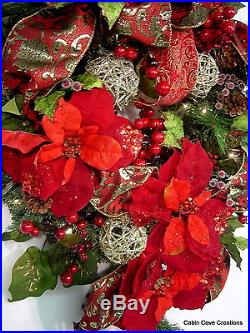 Christmas Joy Wreath Burgundy gold Traditional PRELIT garland available