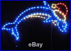 Christmas Jumping Dolphin w Santa Hat LED Lighted Decoration Steel Wireframe