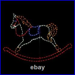 Christmas LED Rocking Horse Toy Present Outdoor Yard Light Display Holiday Decor