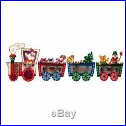 Christmas Lighted 3 FT Outdoor Holiday Colorful Santa Train Yard Decor