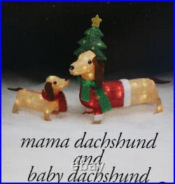 Christmas Lighted Dachshund Wiener Dog Sculpture Light Up Indoor Outdoor Christmas Decor World
