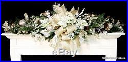 Christmas Mantel Swag Holiday Garland Custom Decorated mint green gold snow