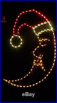 Christmas Moon with Santa Hat Outdoor LED Lighted Decoration Steel Wireframe