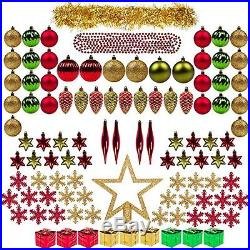 Christmas Ornaments Decorations Assorted Set for Tree 100ct