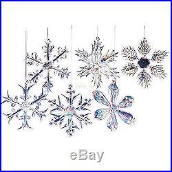 Christmas Ornaments Glass Snowflakes Clear Vintage Decor Xmas Tree 12 Piece NEW