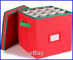 Christmas Ornaments Storage Box w Lid Fabric Bin Red