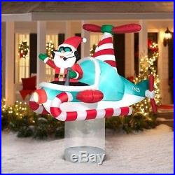 Christmas Outdoor Decor Airblown Inflatable Santa Animated Helicopter Yard 7ft