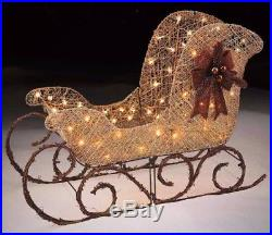 Christmas Outdoor Decoration Light-Up Gold Sleigh 36 Yard Lawn Home Xmas Decor