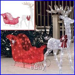 Christmas Outdoor Decoration Pre Lit Deer 52 Reindeer 40 Sleigh Xmas Sculpture