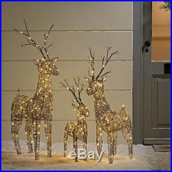 Christmas Outdoor Large Brown Wicker Standing Reindeer Prelit Warm White LED's