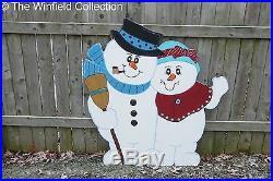 Christmas Outdoor Snowman Couple Wood Yard Decor Lawn Christmas Yard Art