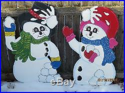 Christmas Outdoor Snowmen Having Snowball Fight Wood Yard Art Lawn Ornament