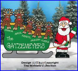 Christmas Personalized Sleigh with Santa & his Reindeer Family Wood Outdoor Yard