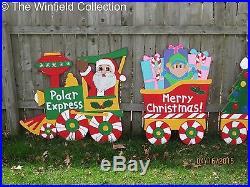 Christmas Polar Express Train Wood Outdoor Yard Art, Polar Express Train