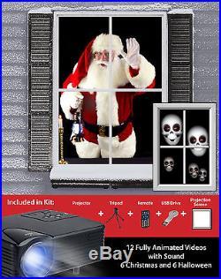 Christmas Projector Animated Window Kit Holiday Decor Xmas Party Virtual Santa