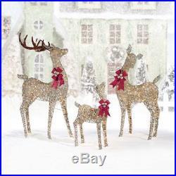 Christmas Reindeer Set Indoor Outdoor XMAS Decor Garden Glittery 650 LED Lights
