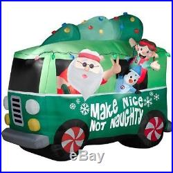Christmas Santa 1960′s Hippie Peace Van Airblown Inflatable Yard Decoration