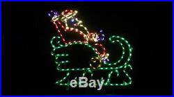 Christmas Santa Claus in Sleigh Outdoor LED Lighted Decoration Steel Wireframe