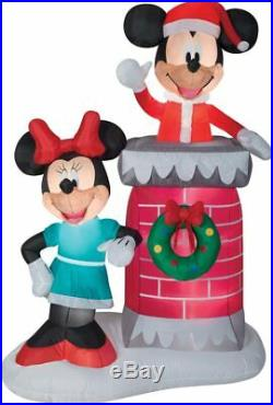 Christmas Santa Disney Mickey Mouse Minnie Chimney Airblown Inflatable 6.5 Ft