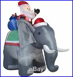 Christmas Santa Elephant Presents Inflatable Airblown Yard Decoration 10.5 Ft