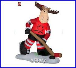 Christmas Santa Hockey Moose Canada Inflatable Airblown Yard Decoration 7 Ft