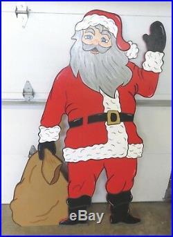Christmas Santa Mr. Claus Life Size Wood Outdoor Yard Art, Santa Mr. Claus Wood
