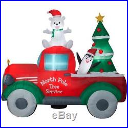 Christmas Santa North Pole Tree Service Pickup Truck Airblown Inflatable 9 Ft