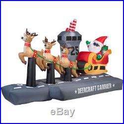 Christmas Santa Reindeer Aircraft Carrier Sliegh Sled Inflatable Airblown Yard
