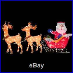Christmas Santa Reindeer with Clear Lights Outdoor Garden Yard Xmas Decoration