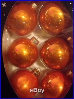 Christmas Shoppe Orange Glass Christmas Tree Ball Ornaments Box Of 6 NIB