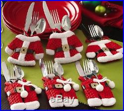 Christmas Silverware Holder Pockets Santa Suit Table Dinner Holiday Decor Cute