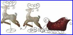 Christmas Sleigh & reindeer Lighted Sculpture Outdoor Holiday Decor Yard