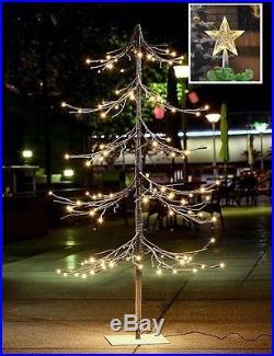 Christmas Snow Tree Holiday Decoration LED Lights Star TreeTop Xmas Artificial