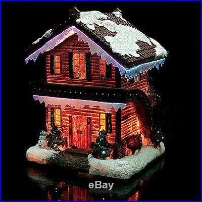Christmas Snow Village Fiber Optic House Log Cabin Chalet