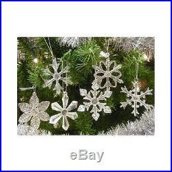 Christmas Snowflake Ornaments Glass Iridescent White Decor Holiday Tree Xmas 6pc