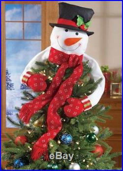 Christmas Snowman Tree Top Decoration Ornament Hugger Topper Holiday