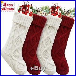 Christmas Stockings, 4 Pack Personalized Christmas Stocking 18 Inches Large Cabl