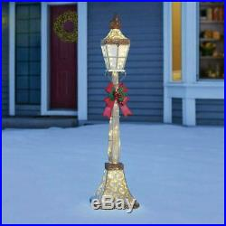 Christmas Street Lamp & Bow 6ft (1.8m) with 120 LED Lights for Indoor & Outdoor
