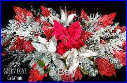 Christmas Swag Centerpiece Holiday Floral Arrangement door red white silver
