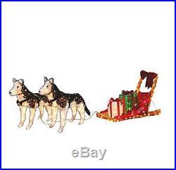 Christmas Tinsel Husky & Sleigh Lighted Yard Decor