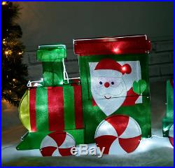 Christmas Train Pre Lit Silhouette Outdoor Garden Xmas Free Standing Decoration