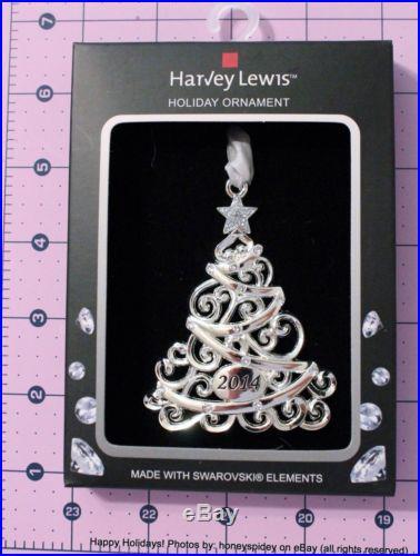 Christmas Tree 2014 Harvey Lewis Swarovski Ornament Holiday Metal Silver