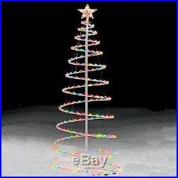 Christmas Tree 6' Lawn Display Spiral Indoor Outdoor Prelit Color Lights Decor
