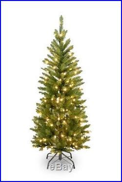 Christmas Tree Artificial Pre Lit Clear Lights 4.5 Foot Fir Pencil National