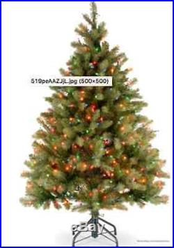 Christmas Tree Artificial Stand Lights Holiday Green 4 1/2 ft Xmas Pre Lit Decor