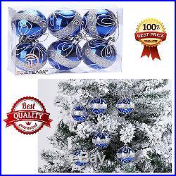 Christmas Tree Balls Decorations 6 Pcs Shatterproof Blue
